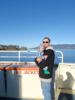 Kaden and Clancy on the ferry to Bruny Island