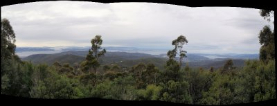 Panoramic view on the way up to the top of Mt Wellington
