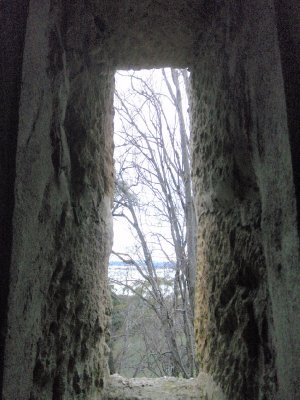 Looking out one of the Shot Tower windows