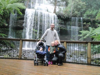 The Hehir family at Russell Falls