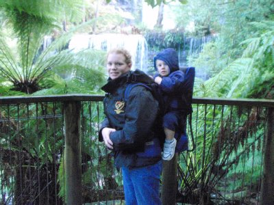 Renee and Sonia with the Kathmandu child carrier backpack at Russell Falls