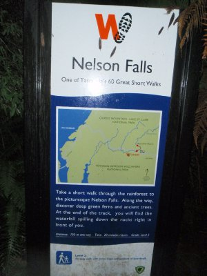 Nelson Falls Nature Trail sign