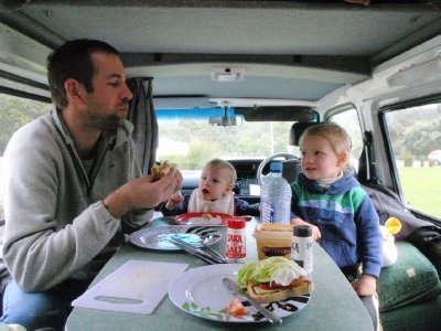Lunch time in the campervan