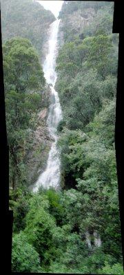 Montezuma falls view from suspension bridge, panorama