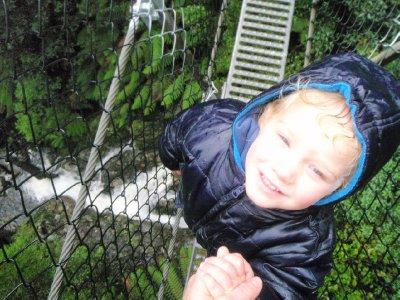 Sonia on the Montezuma falls suspension bridge