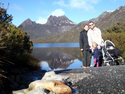Hehir family at Dove lake, Cradle Mountain Tasmania