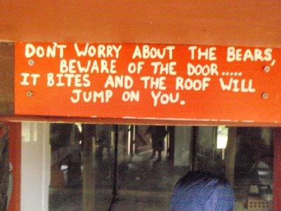 The 3 bear's door sign