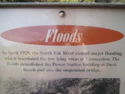 Sign at Duck Reach Power Station - floods