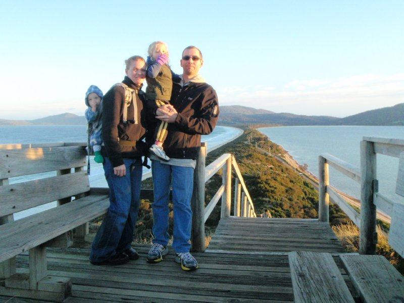 Family photo at the Neck Lookout, Bruny Island
