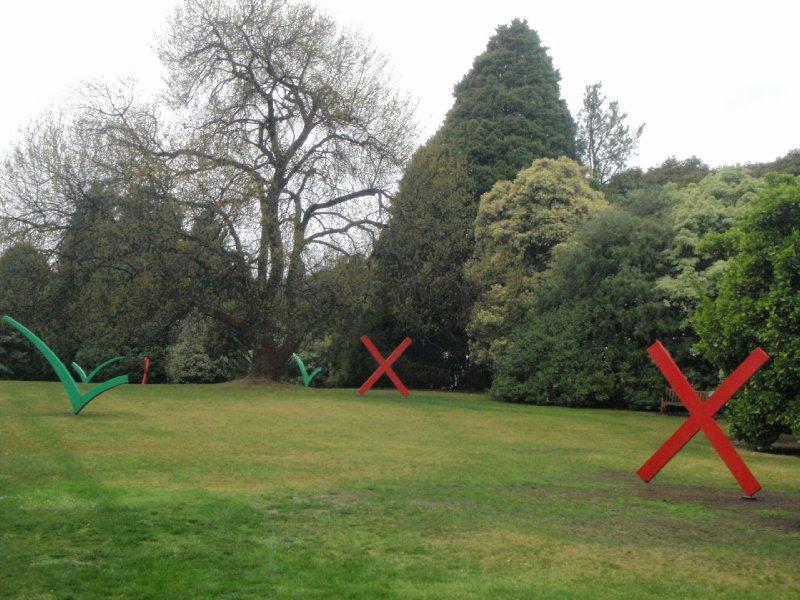 Ticks and Crosses sculpture, Royal Tasmanian Botanical Gardens