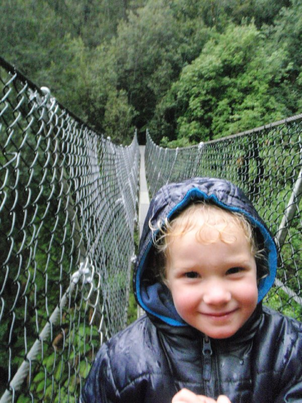 Sonia and the Montezuma Falls suspension bridge