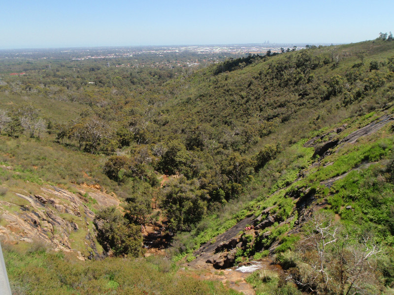 View over Perth from top side of Lesmurdie Falls