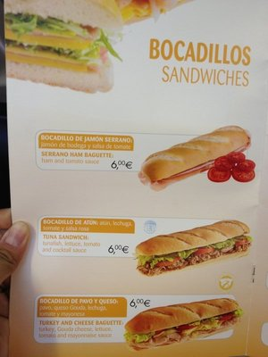 Menu on Malaga flight