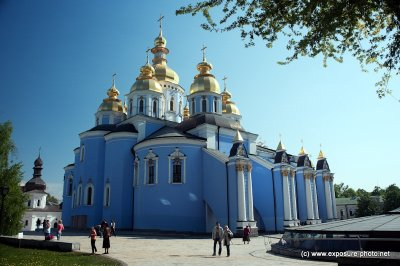 Originally built in the Middle Ages by Sviatopolk II Iziaslavych, the monastery comprises the Cathedral itself, the refectory of St. John the Divine, built in 1713, the Economic Gates, constructed in 1760 and the monastery's bell tower, which was added ci