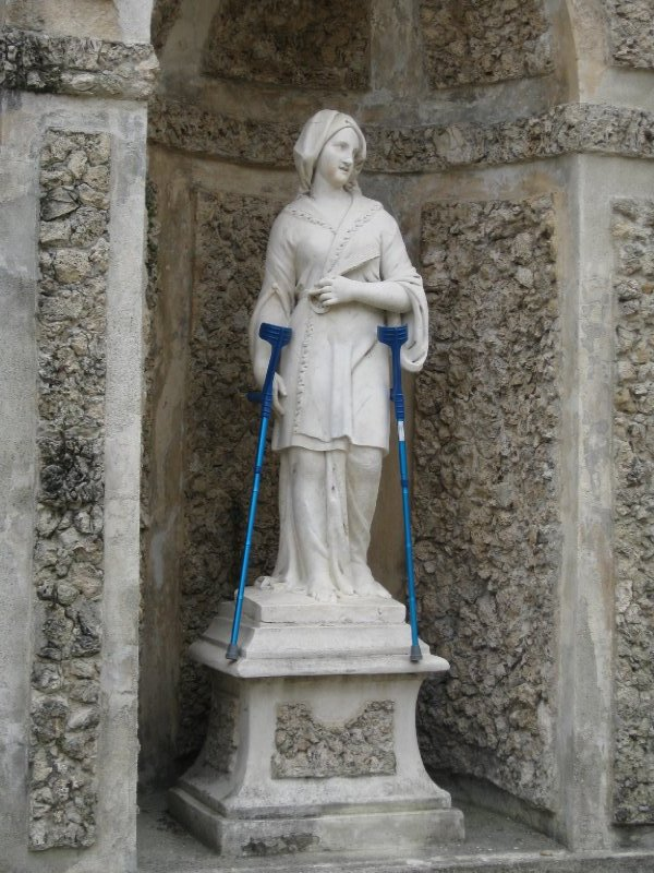 Statue with crutches