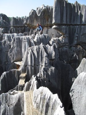 insane path on top of the rocks at stone forest