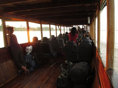 Inside view of the slow boat up the Mekong River
