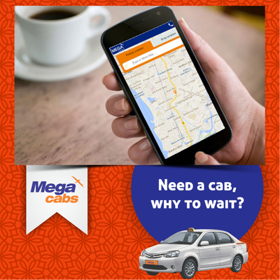 Book Mega Cabs in Just 20 Second with our Mobile app