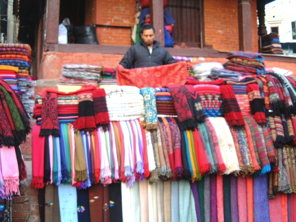 Cloth sellers in the market Yak wool etc