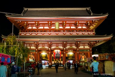 The inner gate of Sensoji Temple at night.