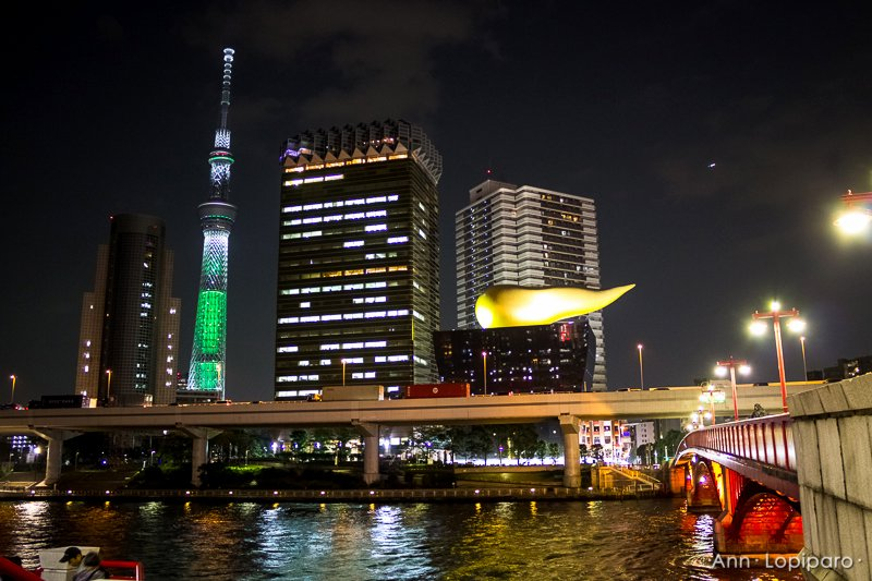 The Tokyo Sky Tree and a beer company's building at night.