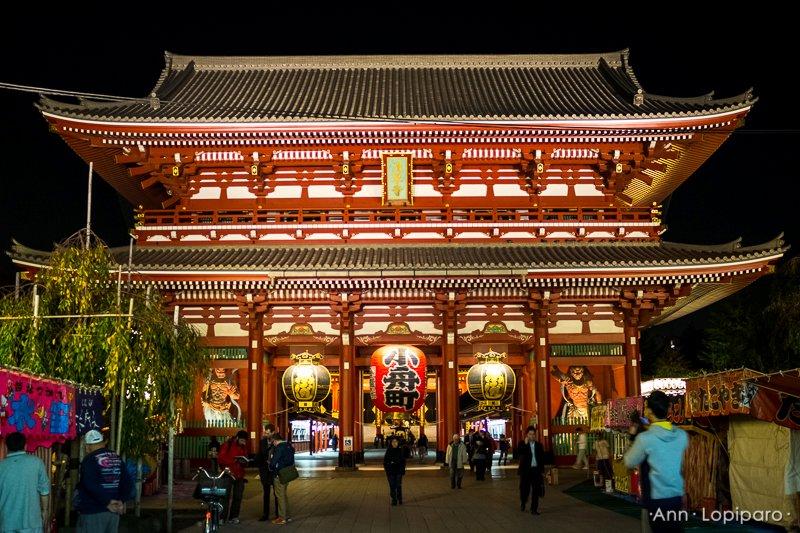 The inner gate of Sensoji Temple at night.