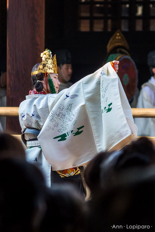Shrine Maiden performing Yoyogi-no-Mai for Meiji Jingu Enshrinement Anniversary Ceremony