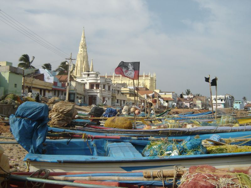Kanyakumari - the port, the village & the yellow church