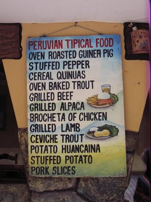 Peruvian food menu
