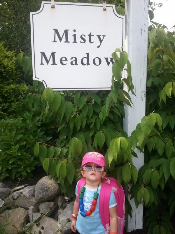 2013-08-12 Ella at her street corner after our walk to the playground