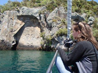 Maori rock carving