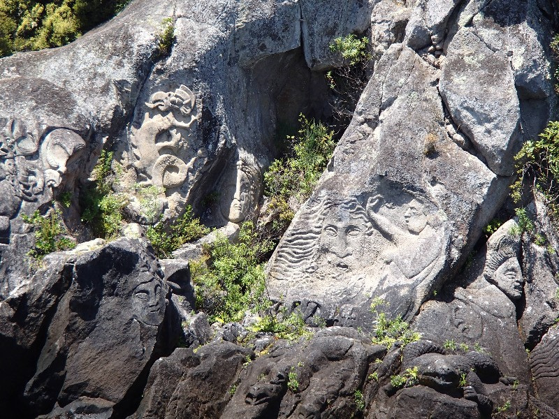 Maori rock carvings