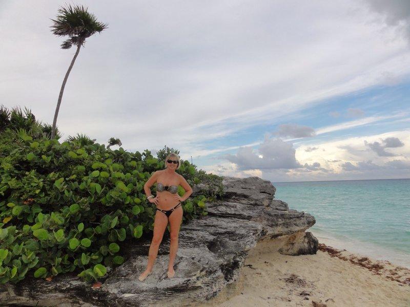 Barbara on a beach walk