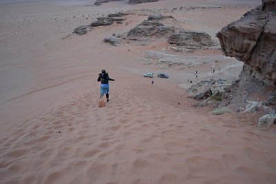 Running down the desert sand dune