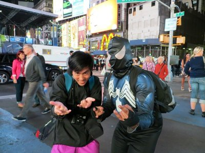 Vinnie with Spidey in Times Square