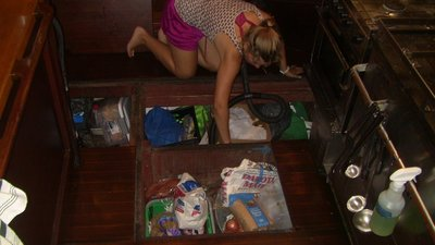 Brittany hard at work cleaning out the Galley Bilges