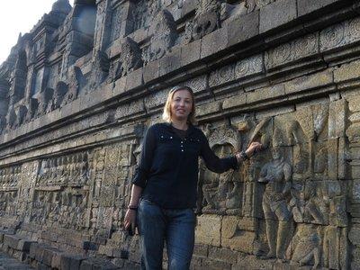 Tess by the carvings at Borodupur