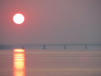 Sunset over the Brahmaputra river