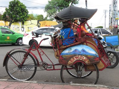 A cycle rickshaw in Jogya