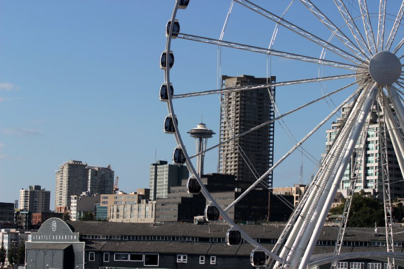 Space Needle through the ferris wheel