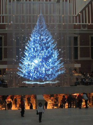 Holographic Christmas tree near Rijkmuseum