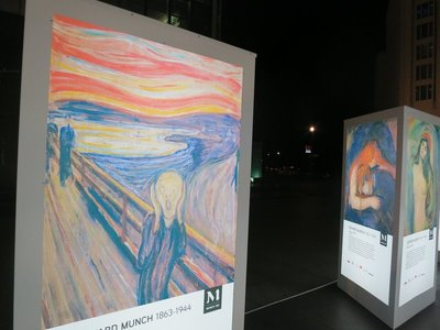 Celebration of Edvard Munch, outside Sony centre, Potsdamer Platz