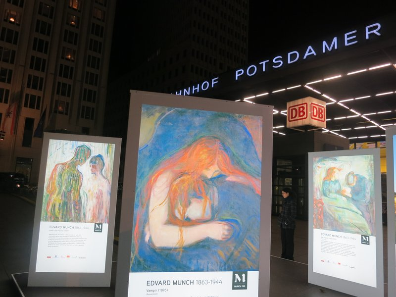 Celebration of Edvard Munch, outside Sony centre, Potsdamer Platz