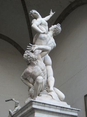 """Rape of the Sapine Women"" at Loggia della Signoria - Florence, Italy."