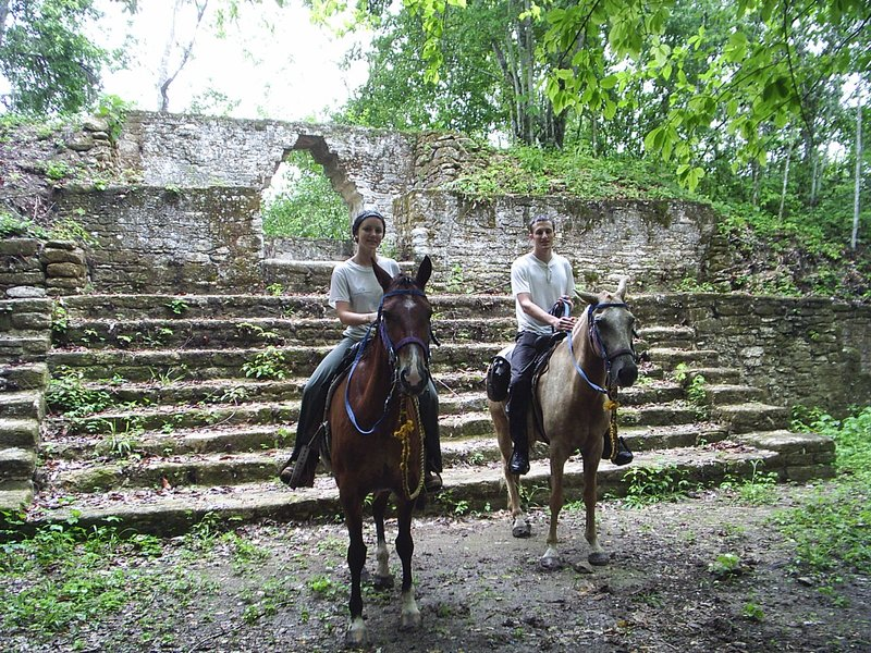 Riding out to deserted ruins in Belize!