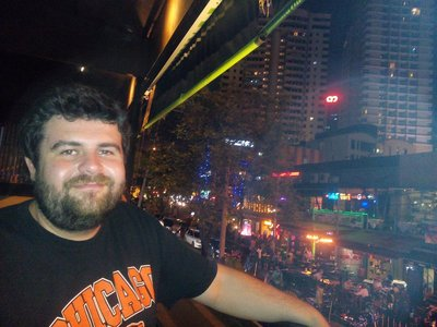 Zach enjoying our bar hopping