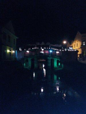 Japanese bridge at night