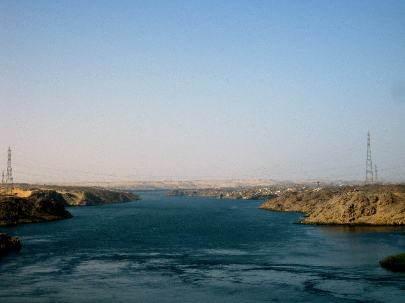 View of Nile River at Aswan High Dam