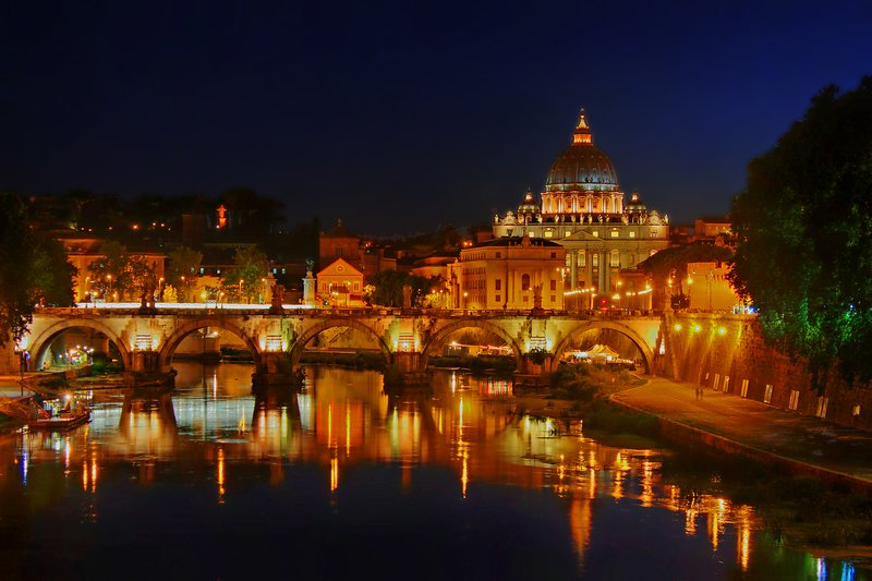 Ponte San Angelo and Vatican at Night