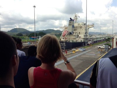 Ship from Guangzhou, China goes through the Miraflores Locks